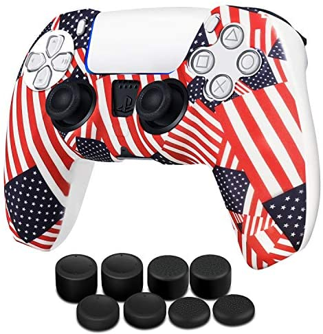 Read more about the article TNP PS5 Controller Skin Case Silicone Cover with Thumb Grips Fit for Sony Playstation 5 Dualsense Wireless Gaming Controller – Protective Soft Gel Anti-Slip Stick Cap Video Game Accessories (US Flag)