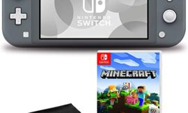 Nintendo Switch Lite (Gray) Console Bundle with Nintendo Minecraft Game and 6Ave Cleaning Cloth