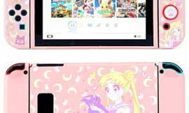 LightPro Cute Protective Case for Nintendo Switch – Soft Slim Grip Cover Shell for Console and Joy-Con with Screen Protector, Thumb Grips, Anti-Scratch (Sailor Moon)