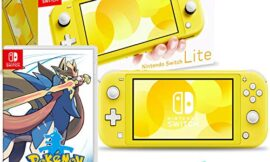 Nintendo Switch Lite (Yellow) Bundle with Pokemon Sword and 6Ave Cleaning Cloth