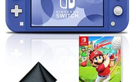 Nintendo Switch Lite (Blue) Gaming Console Bundle with Mario Golf: Super Rush and 6Ave Cleaning Cloth