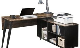 Teeker Home Office L-Shaped Computer Desk with Storage Shelves, Large Executive Office Desk with Cabinet