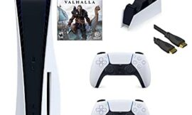 PS5 Bundle: Playstation 5 Disc Console+DualSense Wireless Controller + Assassin's Creed Valhalla and TIVDIO Charging Station for PS5