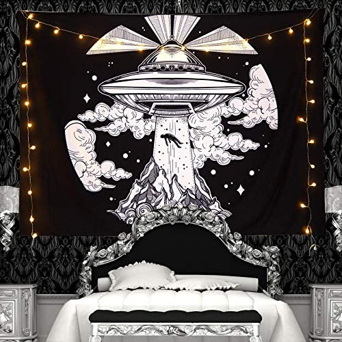 Read more about the article lile UFO Alien Decor Tapestry Black and White Spaceship Tapestries Large Trippy Cool Psychedelic Tapestry's Wall Hanging Art for Bedroom,Living Room,Office(W78.7xH59.1,UF)