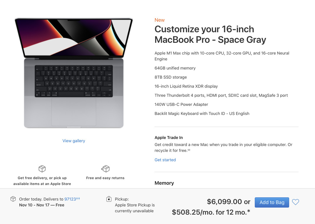 Read more about the article Want a fully specced-out MacBook Pro? You'll have to pay more than $6,000