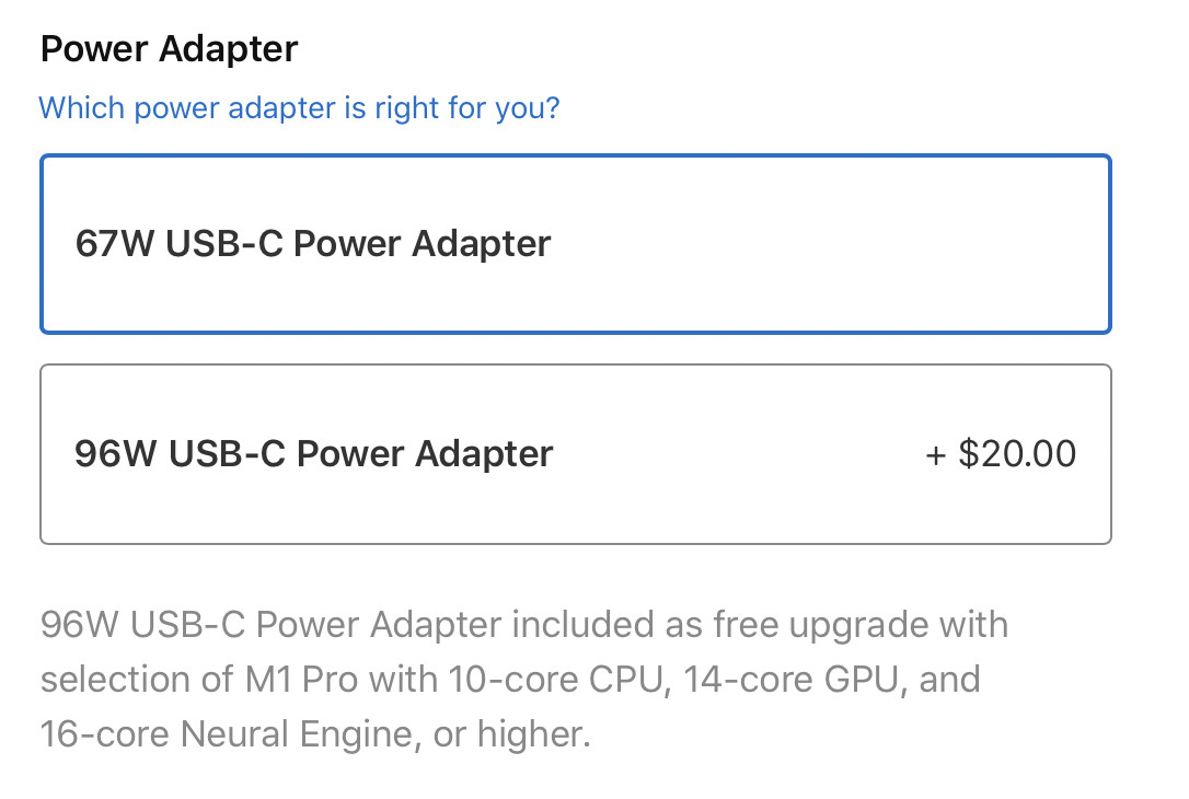 Read more about the article PSA: the MacBook Pro 14-inch's $20 power brick upsell is probably worth it