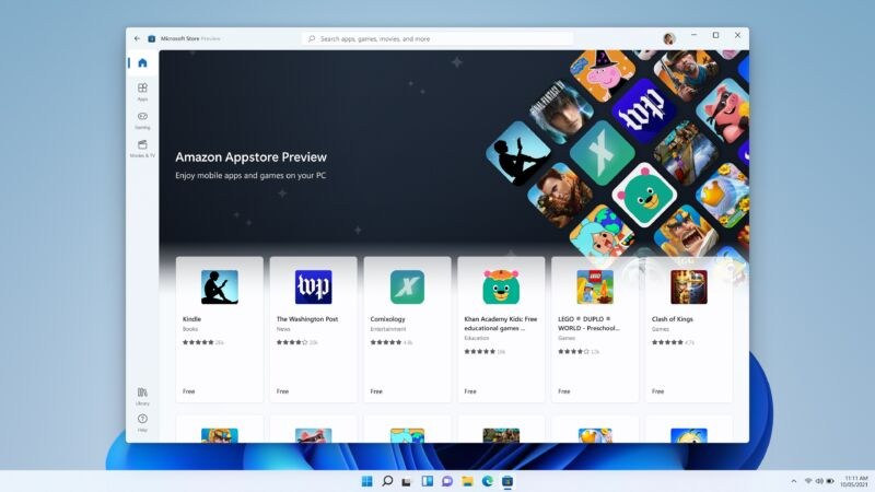 Read more about the article Amazon's Android apps come to the latest Windows 11 beta